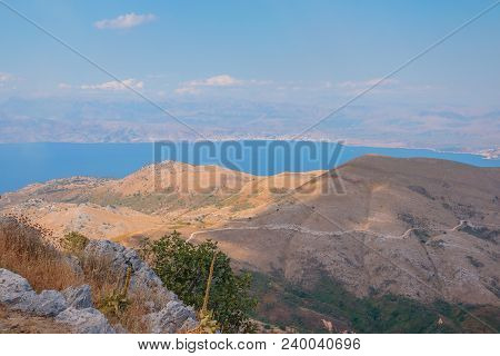 Greece Nature Mountains Coast In The Ionian Sea Landscape On Corfu Island Aireal View