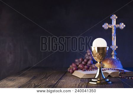 First Holy Communion Theme. The Cross, Holy Bible, Rosary And Golden Chalice. Bread And Grapes - Sym