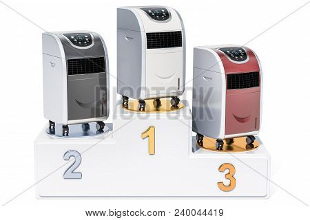 Portable Air Conditioner Ratings Concept. Winners Podium With Portable Air Conditioners, 3d Renderin