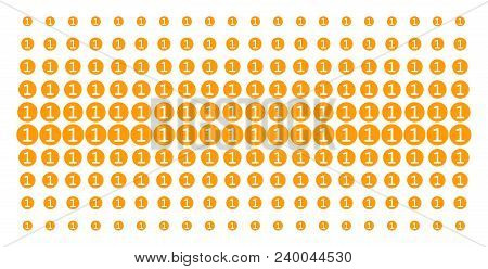 One Coin Icon Halftone Pattern, Constructed For Backgrounds, Covers, Templates And Abstract Composit