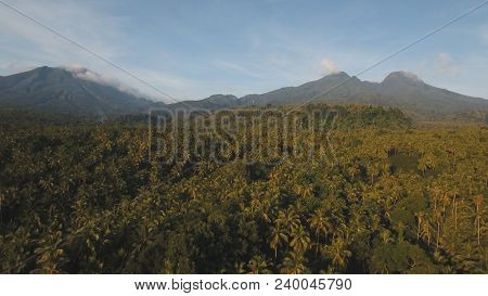 Mountains With Rainforest Covered With Green Vegetation And Trees On The Tropical Island, Landscape.