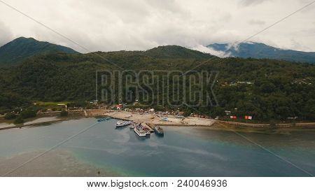 Aerial View:passenger Ferry Terminal With Ferry Boats.ferries For Transport Vehicles And Passengers