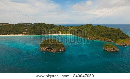 Aerial View Of Beautiful Tropical Island With White Sand Beach, Hotels And Tourists, Boracay. Tropic