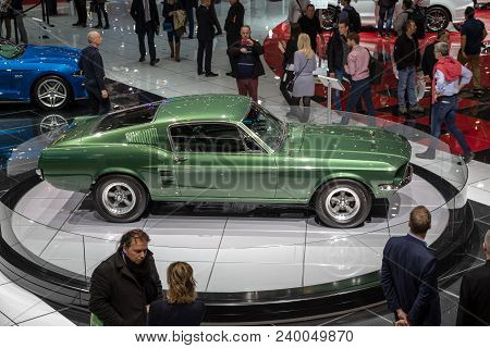 Geneva, Switzerland - March 7, 2018: Ford Mustang Bullitt Clasic Sports Car Showcased At The 88th Ge
