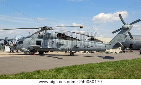 Berlin, Germany - Apr 27, 2018: Us Navy Mh-60r Seahawk Multimission Naval Helicopter From Hsm-72 On