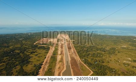 Construction Of A New Airport Terminal On Panglao. Aerial View Modern Airport Terminal Construction