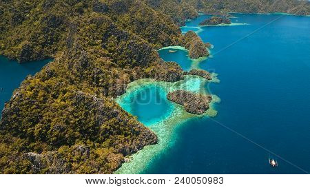 Aerial View: Mountain Barracuda Lake, On Tropical Island, Lagoon With Blue, Azure Water. Lake In The