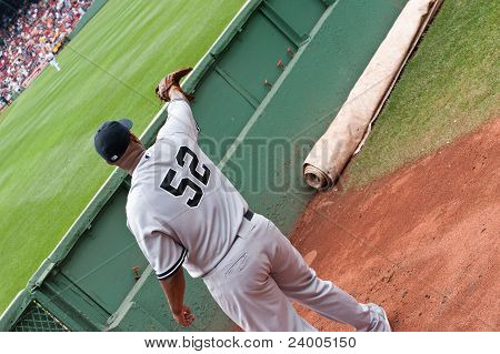 Boston - August 8: New York Yankees Starting Pitcher, #52, C.c. Sabathia Warms Up In The Visiting Bu
