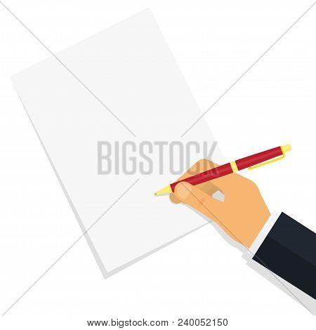 Doctor Writing Notes On A Prescription Pad. Empty Medical Prescription Rx Form. Vector Illustration