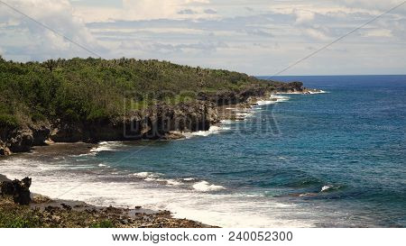 Rocky Beach With Palm Trees, Blue Water On A Tropical Island. Sea Rocky Coast, Waves Breaking To The