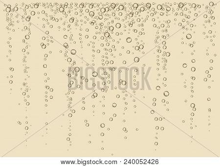 Champagne. Effervescent drink. Fizz. Underwater fizzing air, water or oxygen  bubbles on dark  background. Fizzy sparkles in sea, aquarium. Soda. Undersea vector texture. poster