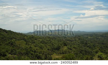 Vew Mountains With Rainforest Covered With Green Vegetation And Trees On The Tropical Island, Landsc