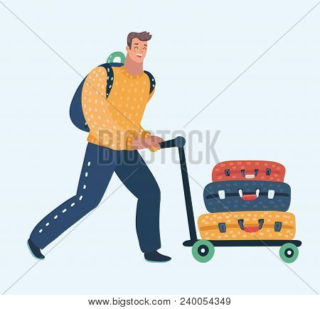 Vector Cartoon Illustration Of Young Man Pushing Airport Trolley With Luggage, Suitcases, Bags, Man
