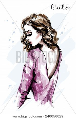 Hand Drawn Beautiful Young Woman. Fashion Woman With Curly Hair. Sketch.