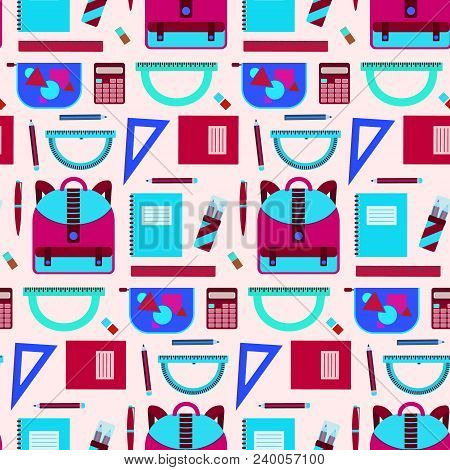 Bright Seamless Pattern With School Equipment In Blue And Pink Colors. Cute Contrast Kids Texture Fo
