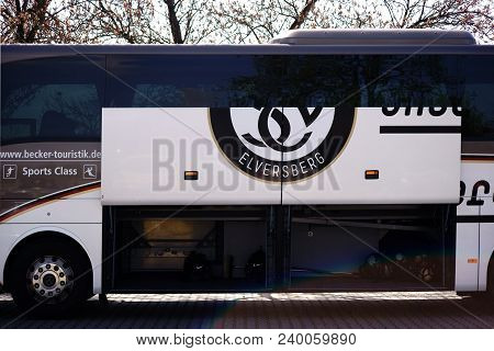 Mainz, Germany - April 14: The Team Bus Of The Football Club Sv Elversberg In An Away Game Of The B-