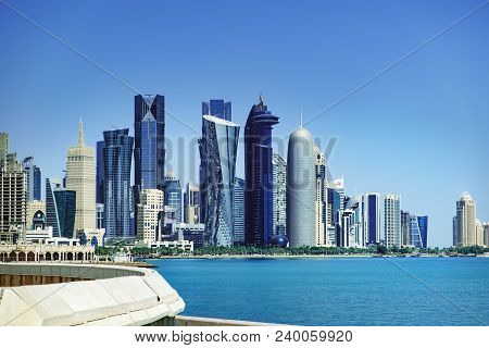 Doha, Qatar - March 3, 2018: The Morning View Of The Skyscrapers Of Doha From The Persian Gulf. Futu