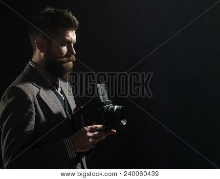 Silhouette Of Stylish Bearded Man With Retro Old Camera. Vintage Photography Concept - Man In Retro