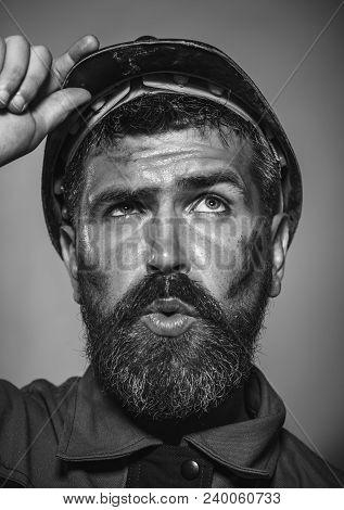 Architect, Worker, Engineer - Work. Business, Building Concept - Builder In Hard Hat. Portrait Beard