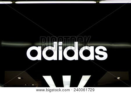 Dumaguete, The Philippines - 08 March 2018: Adidas Fashion Brand Label In Shopping Mall. Worldwide S