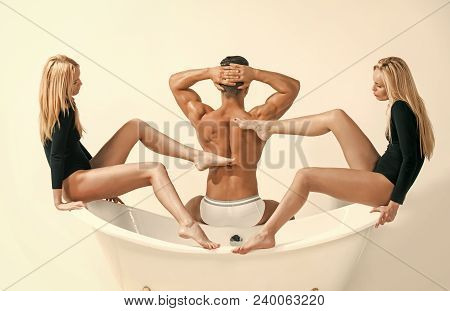 Love Triangle, Romance, Sex Games. Relax, Spa, Bathroom, Bodycare. Man With Muscular Body, Twin Wome