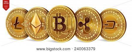 Bitcoin. Ripple. Ethereum. Dash. Litecoin. 3d Isometric Physical Coins. Crypto Currency. Golden Coin