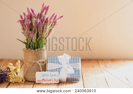 Happy Mother's Day Concept. Gift Box With Purple Flower, Paper Tag With Love Mother's Day Text And T