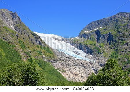 Boyabreen Glacier, A Beautiful Arm Of The Large Jostedalsbreen Glacier, Norway, Europe