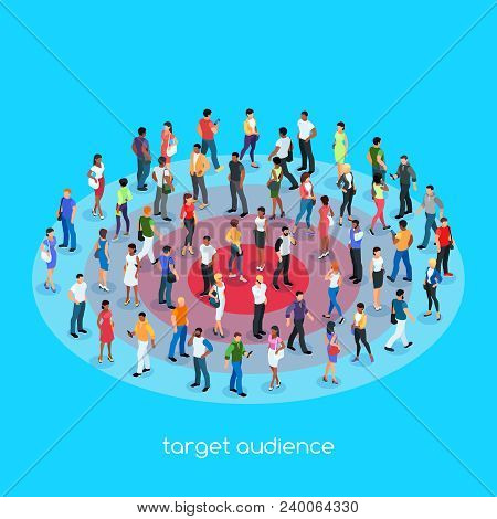 Isometric Social Concept. Target Audience. 3d Crowd Of People With Different Skin Color, Men And Wom