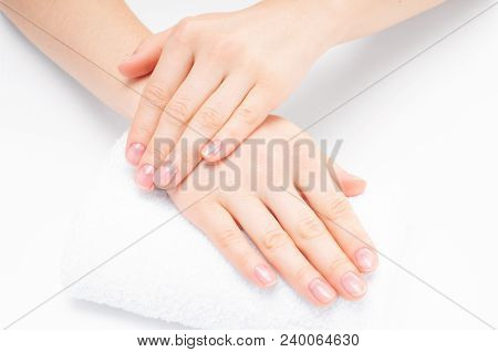 Beautiful Woman  Hands. Spa And Manicure. Soft Skin, The Concept Of Nail Care.
