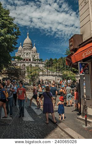 Paris, France - July 08, 2017. People Having Fun In Montmartre Restaurant In Sunny Day At Paris. Kno