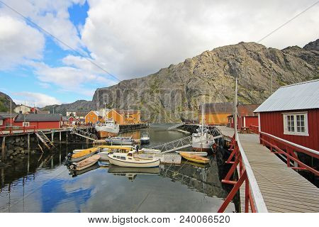 Little village Nusfjord, Lofoten Islands, Norway Scandinavia Europe poster