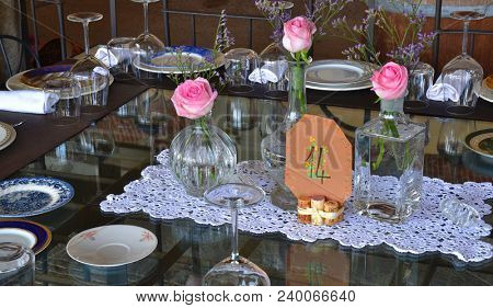Wedding party restaurant table,artistically decorated wedding.
