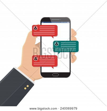 Mobile Phone Chat Message Notifications Vector Illustration Isolated On Color Background, Hand With