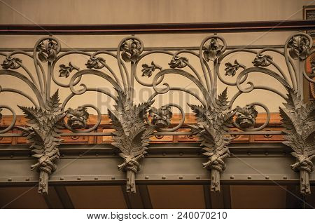 Paris, Northern France - July 10, 2017. Close-up Of The Elaborate Decoration In Art Nouveau Style On