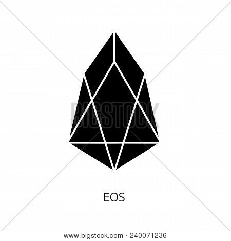 Vector Illustration Crypto Icon On  Background. Eos Is A New Blockchain Platform Of The Crypto Curre