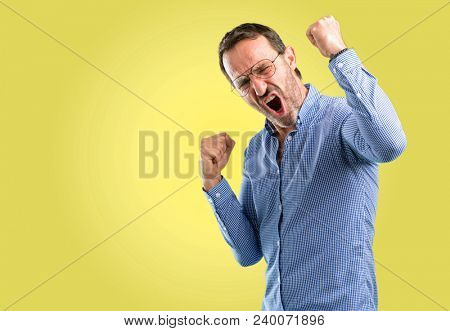 Handsome middle age man happy and excited celebrating victory expressing big success, power, energy and positive emotions. Celebrates new job joyful