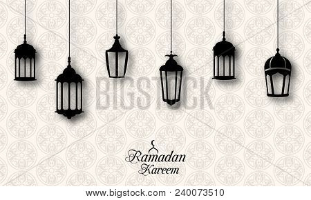 Ramadan Kareem Celebration Background With Traditional Lanterns Fanoos - Illustration Vector