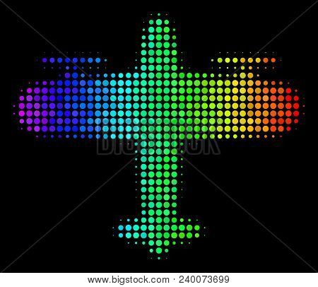 Pixel Bright Halftone Aircraft Icon Drawn With Spectrum Color Tints With Horizontal Gradient On A Bl