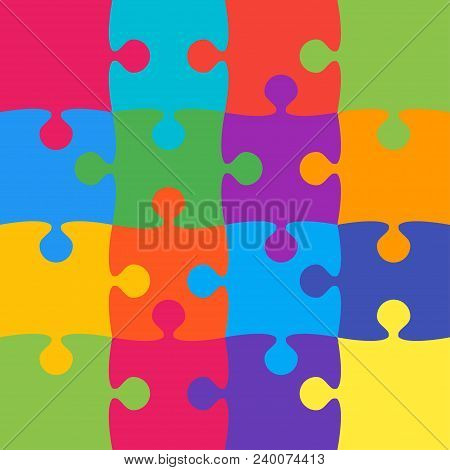 16 Colorful Background Puzzle. Infographic Presentation. Jigsaw Banner. Vector Illustration Template