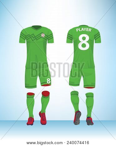 Soccer Jersey Or Football T-shirt Mock Up. Front And Back View Green Uniform. Vector Illustration.