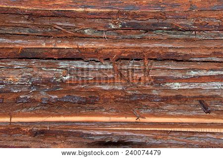 Layers of wood bark freshly cut from logs stacked. Discarded during mill process of making lumber for construction. poster