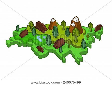 Eurasia Isometric Map Animal And Plants. Flora And Fauna On Mainland. Vector
