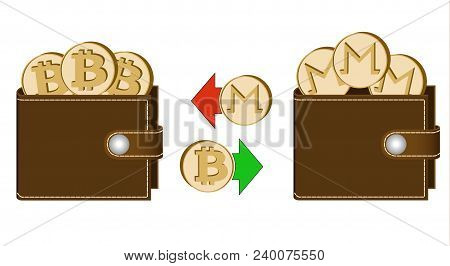 Exchange Bitcoin To Monero Between Wallets On A White Background , Exchange Cryptocurrency In The Wa