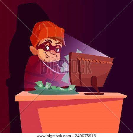 Vector Illustration Of Internet Hacker Scam. Cartoon Scammer Man Or Internet Thief Smug Happy In Mas