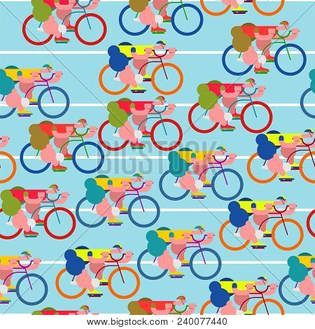 Bicycle Race Pattern. Cyclist Background. Racers On Bicycles. Sports Vector Illustration