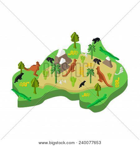 Australia Map Animal Isometric Style. Flora And Fauna. Vector Illustration