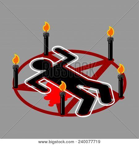 Ritual Sacrifice. Pentagram Of Devil. Satan Sign. Call Daemon. Black Candles. Vector Illustration