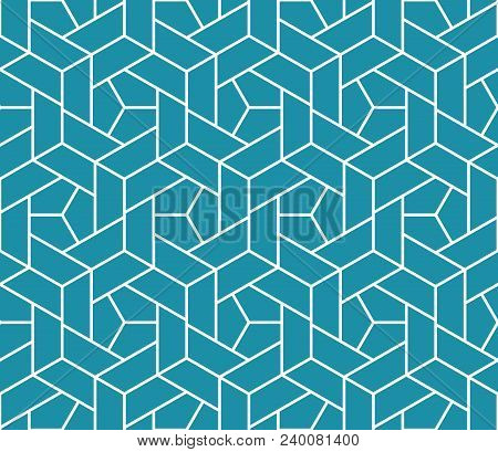 The Geometric Pattern With Lines. Seamless Vector Background. White And Blue Texture. Graphic Modern