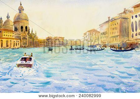 Grand Canal In Venice, Italy. Santa Maria Della Salute Church. Motor Boats Are The Main Transport In